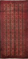 Antique Tribal Geometric Balouch Afghan Area Rug Hand-knotted Wool Carpet 4x7 ft