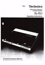 Technics Operating Manual Manuel d'utilisation SL-DL 1