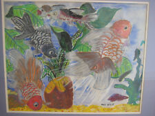 NATHAN HILU FISH AQUARIUM OIL WC PAINTING SIGNED NYC LISTED ART BRUT NAIF FRAMED