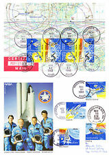 USA US American stamps on A4 size Card Space Travel Columbia NASA Astronaut 1982