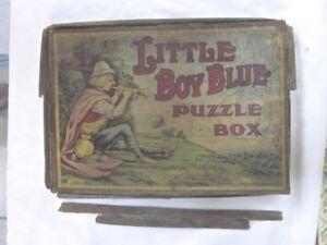 3 HTF ANTIQUE FAIRY TALE JIGSAW PUZZLES RED RIDING CINDERELLA BOY BLUE BRADLEY