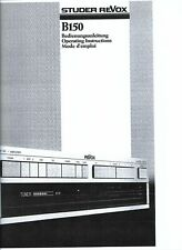Revox  Bedienungsanleitung user manual  für B 150 mehrsprachig Copy