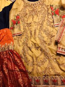 Partywear Bollywood jamawar Gharara Shirt Medium Size Wedding/mehndi/Dholki