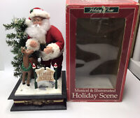 1993 Holiday Time Illuminated Musical Scene Santa Claus & Rudolph Flight School