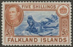 Falkland Islands 1950 KGVI 5sh Steel Blue and Brown-Buff Mint SG161d cat £425
