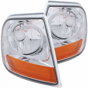 ANZO For Ford F-150/Expedition 1997-2003 Corner Lights Chrome w/ Amber Reflector
