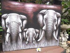 Balinese Elephant Painting (burgundy/charcoal tones) Large