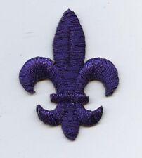 Iron On Embroidered Applique Patch Purple Fleur De Lis Saints Religious MEDIUM