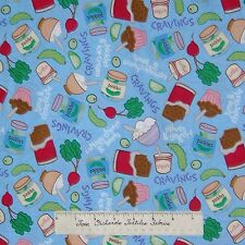 Nursery Fabric - Having A Baby Blue Cravings Food Words Camelot Cotton Quilt Yd
