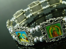 Lot of 3pcs Silver Plated Bead Bracelet With Different Catholic Saint Picture