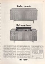 """1963 Fisher Radio Corp. PRINT AD The Fisher Stereo """"Highbrow"""" """"Lowboy"""" great doc"""