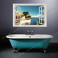 Huge 3D Window View Caribbean Sea Wall Stickers Mural Art Wallpaper Mural Decals