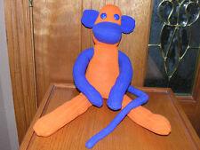 "20"" Bronco Blue & Orange Sock Monkey Hand Made New Cute! Plush Stuffed Toy"