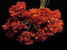 "Vintage Millinery Flower 3/4"" 12pc Lot for Hat Wedding or Hair Rust Auburn Y211"