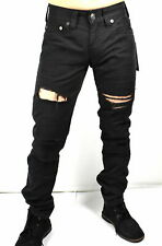 NWT - TRUE RELIGION Men's 'GENO' RELAXED SLIM FIT DISTRESSED Black JEANS -  W32