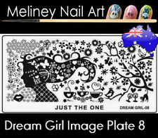 Dream Girl 8 Stamping Nail Art Image Plate Design Rectangle XL Stencil metal