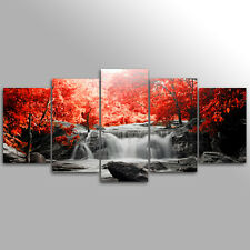 Without Frame Decor Canvas 5 Panels Canvas Prints Waterfall  Red Tree Wall Art