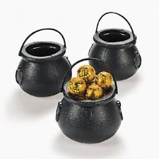 Lot of 12 Plastic Black Candy Kettles Witch Cauldron Halloween Party Favors