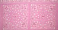 """1  Windham """"Project Pink"""" Pink Ribbon Bandana Fabric Panel 23"""" x 44"""""""