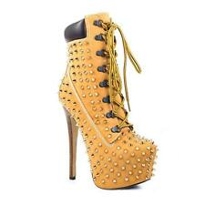 Womens Punk Fashion Spike Lace Up Platform High Heel Lita Ankle Boots Shoes R137