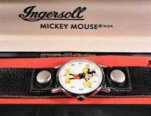 New-Old Stock 1940's Ingersoll Mickey Mouse Wrist Watch Original Box