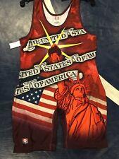 Brand New Mens Brute Red Usa Flag Wrestling Singlet - Xl 180-220lbs