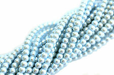 100 Baby Blue Glass Pearl Round Beads 4MM LIMITED