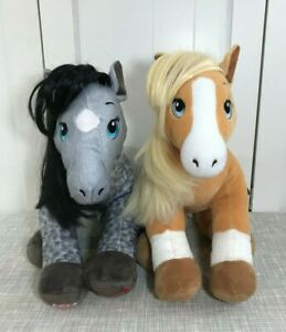 💜 Build A Bear Horses And Hearts Plush Set Appaloosa Grey and Palomino Beige 💜