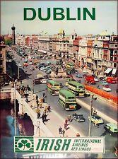 Dublin Ireland Irish Airlines Vintage Irish Travel Advertisement Poster Print