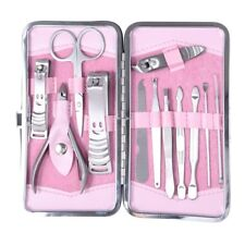 12 pcs Manicure Pedicure Set Nail Scissors Nail Clippers Kit With Pink Case
