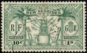 """New Hebrides 1925 """"Weapons & Idols""""  1d (10c) Green   SG.44 Used  Cat:£19"""