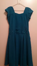 Women's Handmade Blue Mid Length Dress With Beading