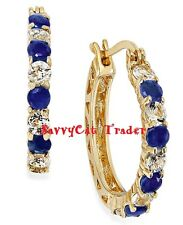 Victoria Townsend Midnight Blue Sapphire & Topaz Sterling Silver Hoop Earrings