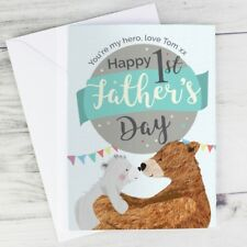 Personalised 1st Father's Day Daddy Bear Card New Dad, First Fathers Day