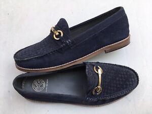 Mens KURT GEIGER navy blue suede loafer slip-on shoes UK10/44 HARDLY WORN
