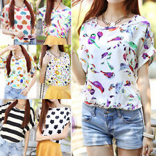 Sexy Womens Floral Summer Chiffon Batwing Sleeve Loose Blouse T-Shirt Tops Tee