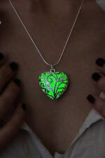 Glow In The Dark Green Heart Pendant Necklace Fairy Locket Steampunk Jewelry