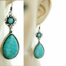 Round Teardrop Genuine Howlite Stone Turquoise Rhinestone Wire Earrings Dangle