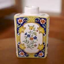 Antique Quimper Rouen Style French Faience Pottery Asian Style Tea Caddy Bottle