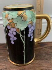 Antique Hand Painted Belleek Porcelain Tankard Stein Mug Grape Vines Black Gold