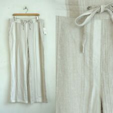 Per Se Pants Size Large NWT Linen & Viscose Striped Beige White Pockets