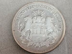 2 Mark 1878 J  Kaiserreich Silber Münze Deutsches Reich Hansestadt Hamburg