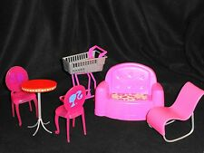 LOT OF BARBIE & BARBIE SIZE FURNITURE - SHOPPING CART, COUCH, TABLE, 2 CHAIRS