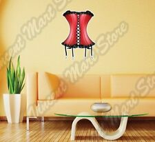 "Lady Red Corset Sexy Elegant Girl Wall Sticker Room Interior Decor 18X25"""