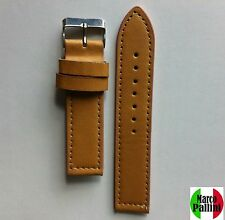 20 mm Marco Pallini Tan Quality Thick PU Leather Watch Strap Silver Buckle