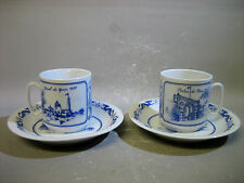 Pair blue and white porcelain cups and saucers
