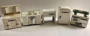 Vintage Miniature Dollhouse Marx Linemar Tin Litho 5-Piece Kitchen Set - 1950's