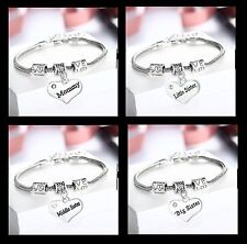 Mother Daughter Charm Bracelet Little Middle Big Sister Sis Mom Jewelry Friends