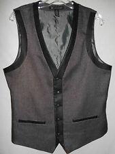 INC Vest M Mens Waistcoat 40-41L Gray 5 Button 2 Pocket Faux Leather Trim 6V8