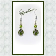Handcrafted Short Drop Earrings....Olive Green/Silver....Silver Plated Hooks